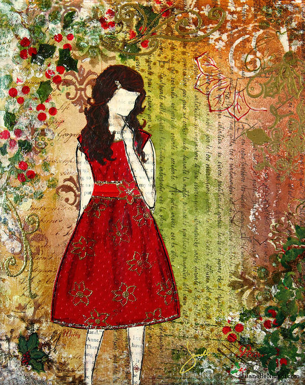 Christmas Art Print featuring the mixed media Christmas Eve Mixed Media Folk Artwork Of Young Girl by Janelle Nichol