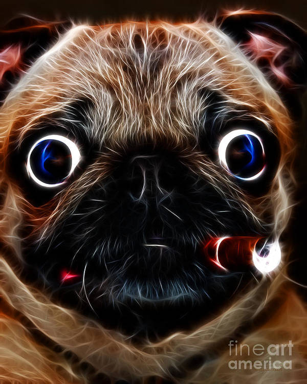 Animal Art Print featuring the photograph Cigar Puffing Pug - Electric Art by Wingsdomain Art and Photography