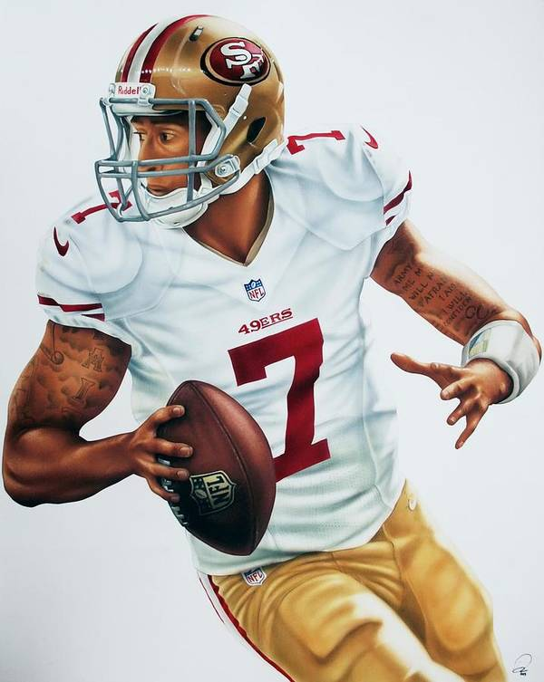 Sports Art Print featuring the painting Colin Kaepernick by Dan Tearle
