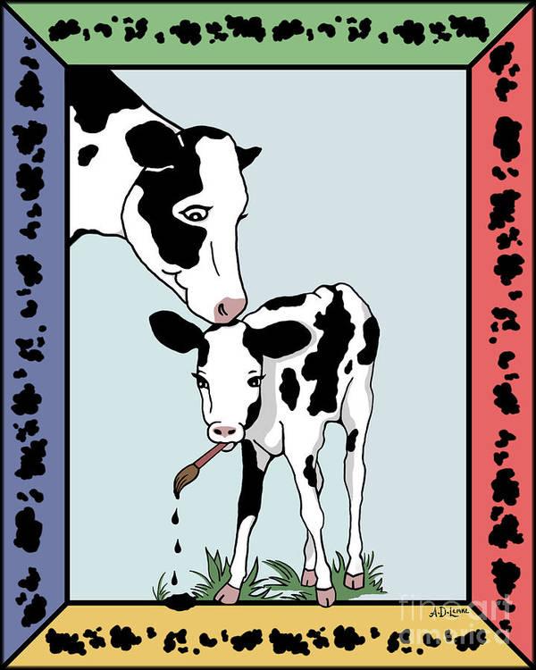 Cow Art Print featuring the digital art Cow Artist Cow Art by Audra D Lemke