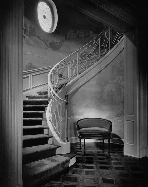 Interior Art Print featuring the photograph Curving Staircase In The Home Of W. E. Sheppard by Maynard Parker