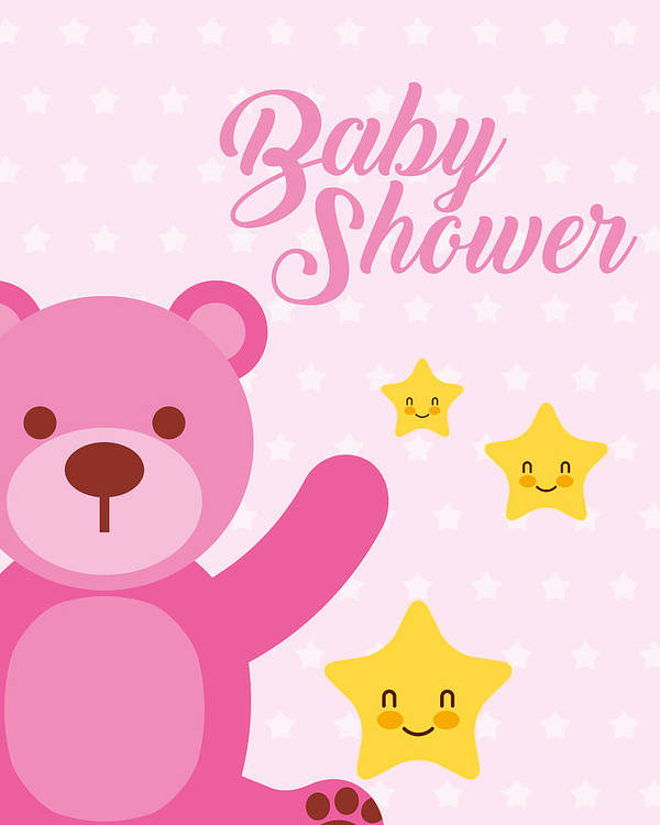 image regarding Baby Shower Card Printable called Adorable Crimson Endure And Superstars Cartoon Child Shower Card Artwork Print
