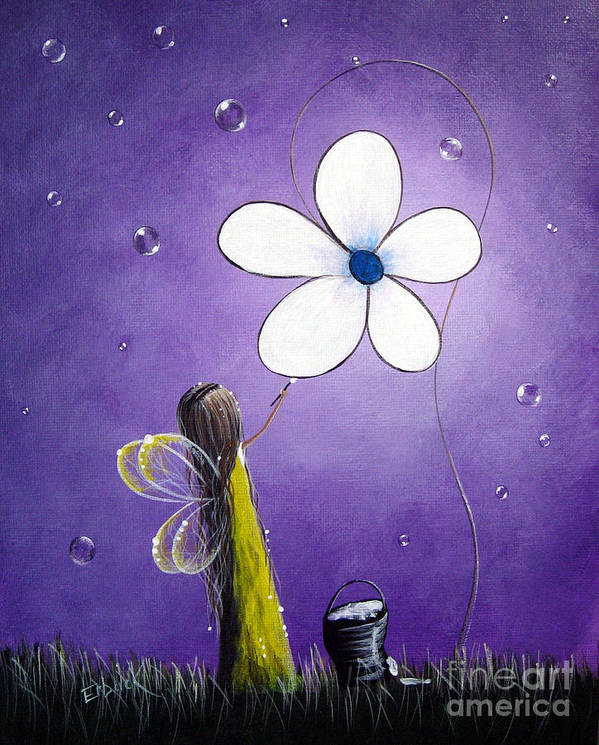 Fairy Art Print featuring the painting Daisy Fairy By Shawna Erback by Shawna Erback