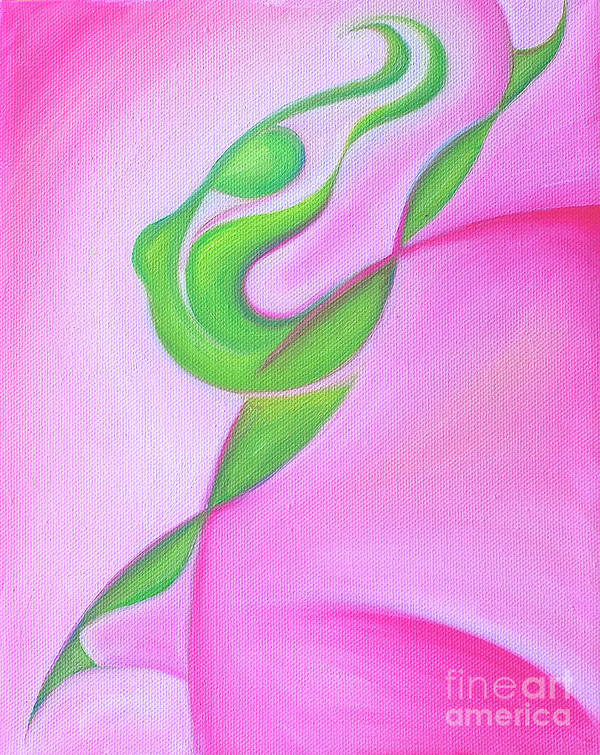 Abstract Art Art Print featuring the painting Dancing Sprite In Pink And Green by Tiffany Davis-Rustam