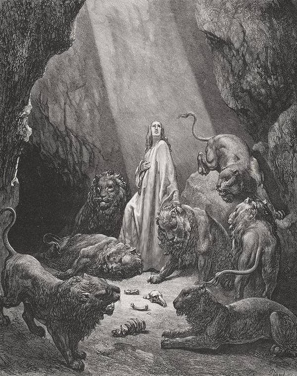 Lion Art Print featuring the painting Daniel In The Den Of Lions by Gustave Dore