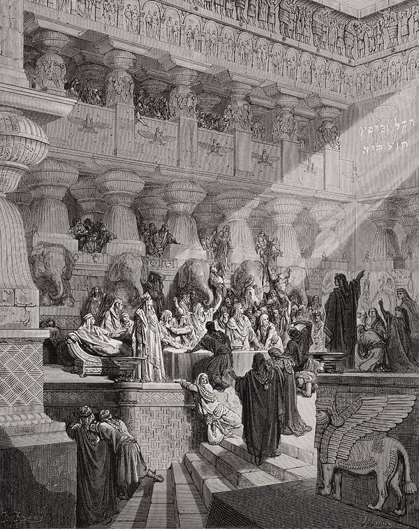Prophet Art Print featuring the painting Daniel Interpreting The Writing On The Wall by Gustave Dore