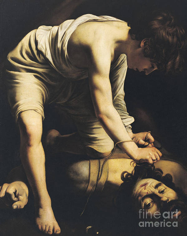 Sling Art Print featuring the painting David Victorious Over Goliath by Michelangelo Merisi da Caravaggio