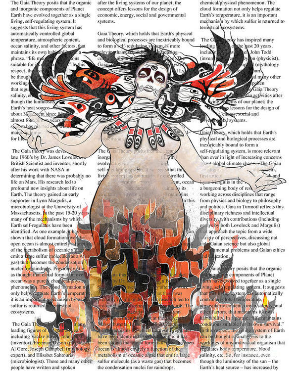 Gaia Art Print featuring the digital art Day Of The Dead Gaia In Flames With Text Illustration Print by Sassan Filsoof