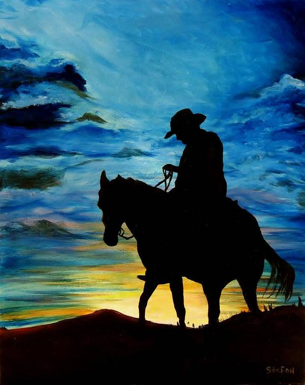 Western Art Art Print featuring the painting Days End by Stefon Marc Brown