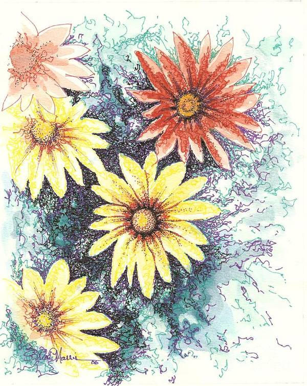Daisies Art Print featuring the mixed media Dazzeled by Brian Edward Harris