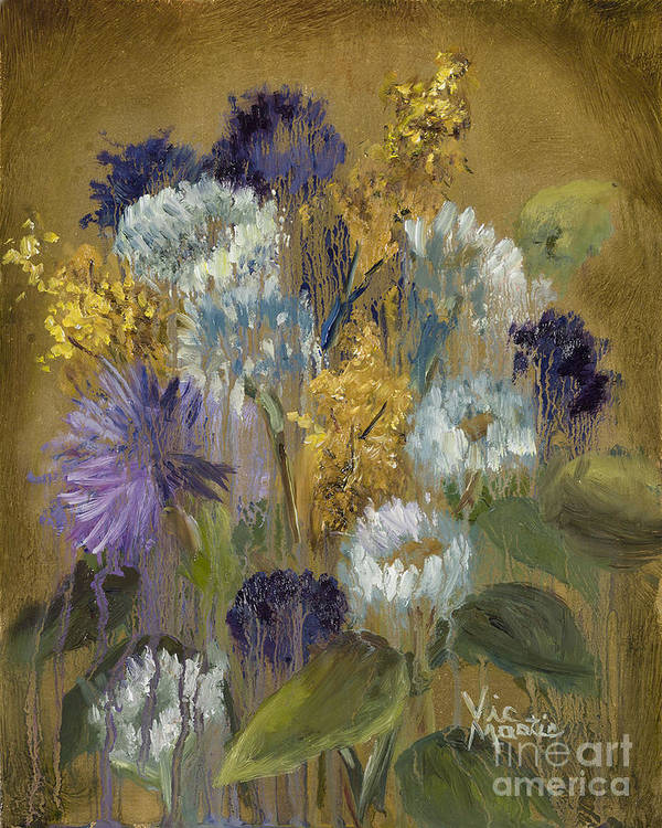 Flower Art Print featuring the painting Delicate Aroma II -unfarmed-with Gold Leaf By Vic Mastis by Vic Mastis