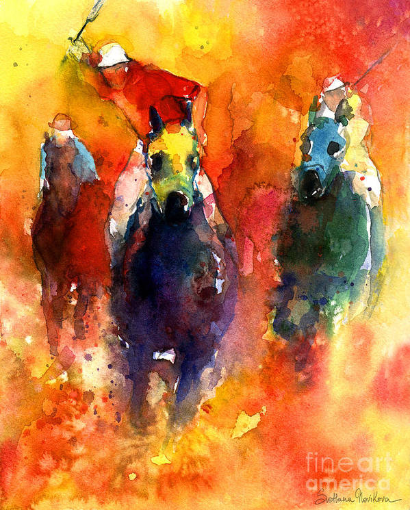 Polo Horse Art Print featuring the painting Derby Horse Race Racing by Svetlana Novikova