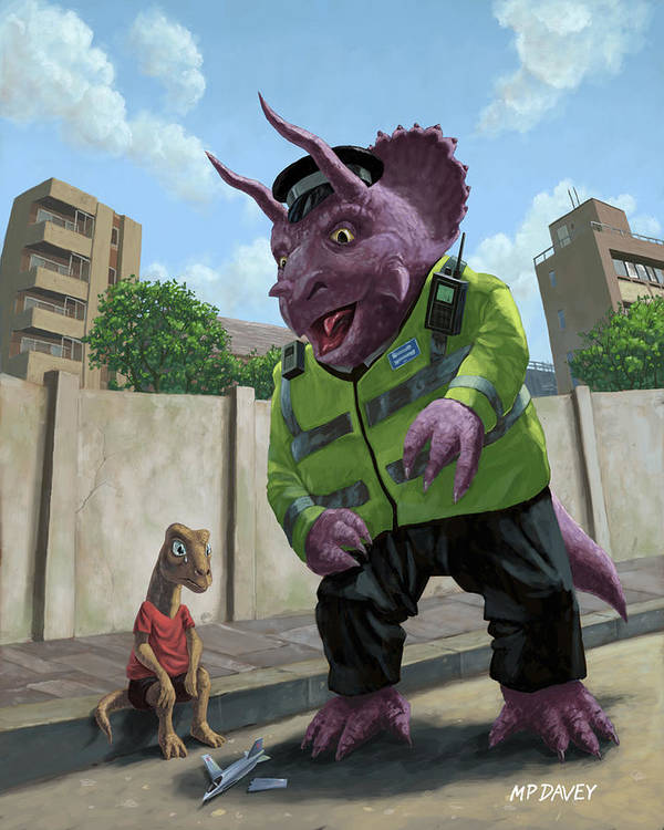 Dinosaur Art Print featuring the painting Dinosaur Community Policeman Helping Youngster by Martin Davey