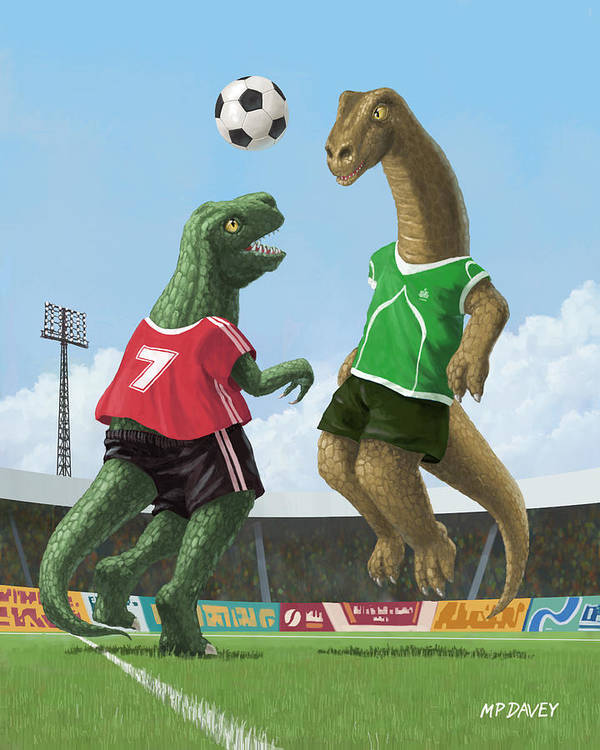 Dinosaur Print featuring the painting Dinosaur Football Sport Game by Martin Davey