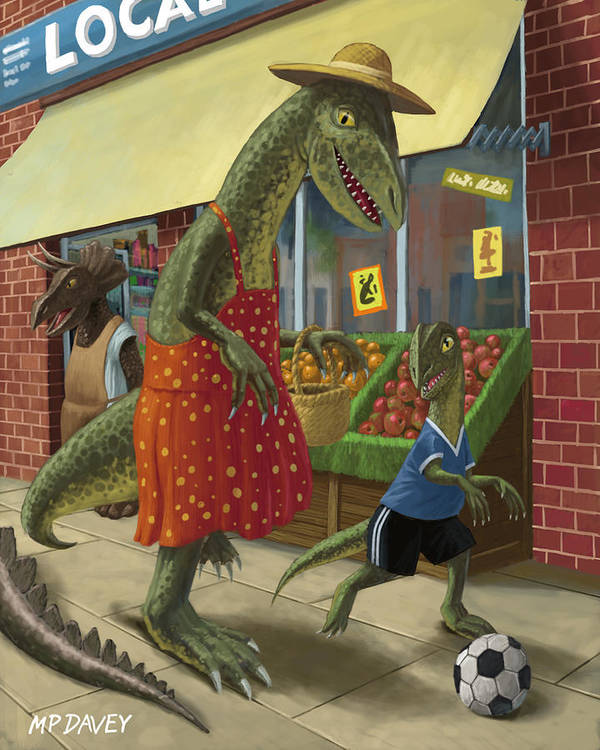 Dinosaur Print featuring the painting Dinosaur Mum Out Shopping With Son by Martin Davey