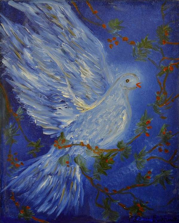 Dove Art Print featuring the painting Dove Spirit Of Peace by Louise Burkhardt
