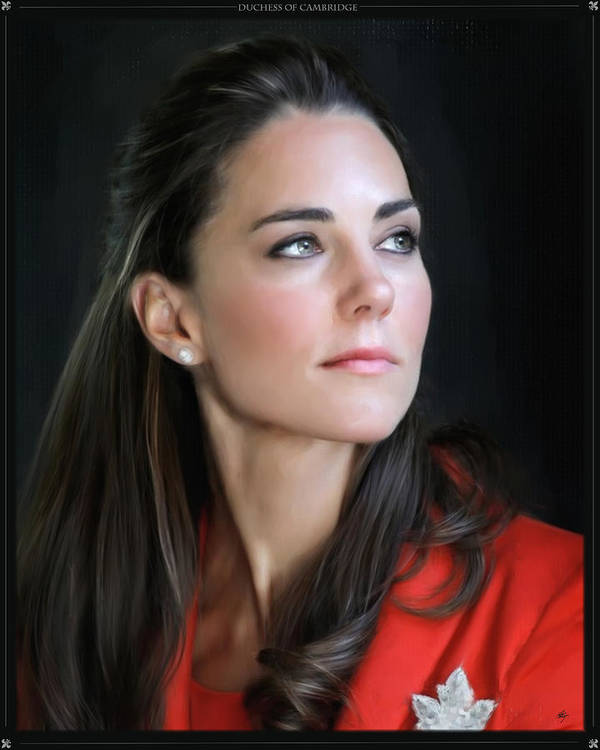 Painting Digital Art Duchess Of Cambridge Duchess Of Cambridge Duchess Of Cambridge Duchess Of Cambridge Kate Middleton Photographs Art Print featuring the digital art Duchess Of Cambridge by Martin Bailey