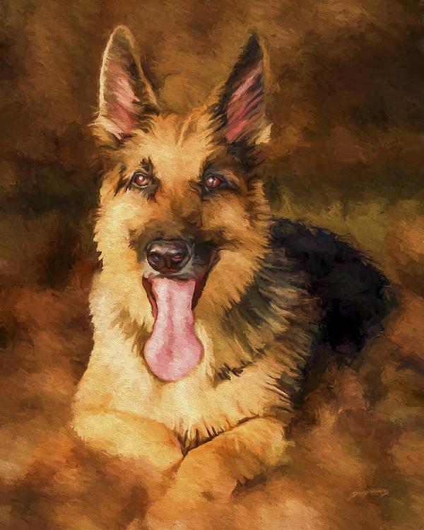 German Shepherd Art Print featuring the painting Duke by David Wagner