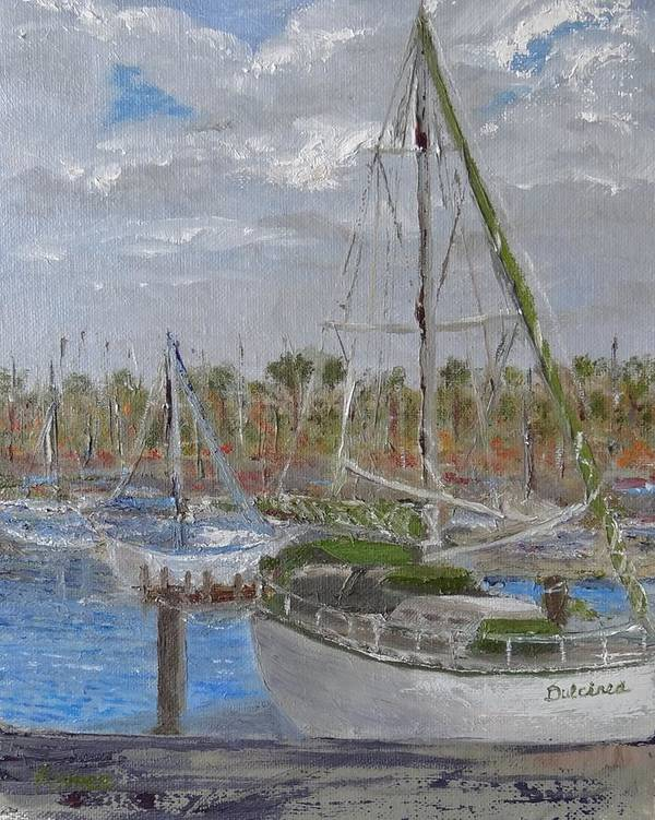 Sailboat Art Print featuring the painting Dulcinea by Pauly Tamez