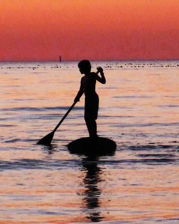 Silhouette Art Print featuring the painting Dusk Float - Sunset Art by Sharon Cummings