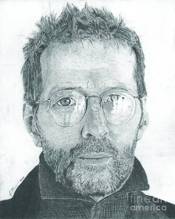 Eric Clapton Legendary Guitar Player Songwriter Slowhand Derek And The Dominoes Cream Print featuring the drawing Eric Clapton by Jeff Ridlen