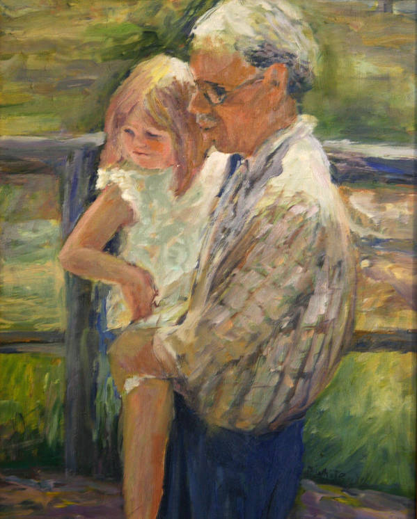 Figures Art Print featuring the painting Ernie And Savanah by Pat White