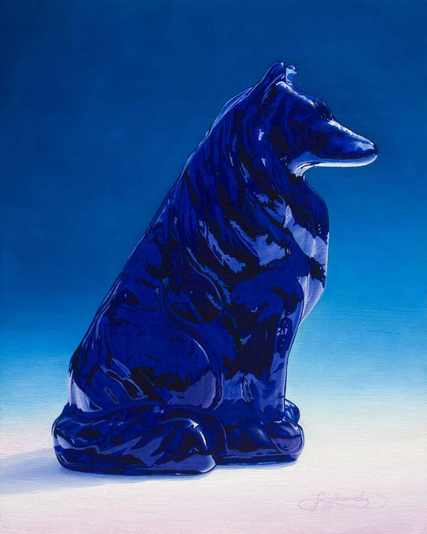 Blue Dog Art Print featuring the painting Eternally Blue by Gary Hernandez