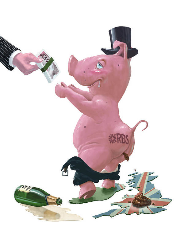 Bank And Pig Art Print featuring the painting Fat British Bank Pig Getting Government Handout by Martin Davey