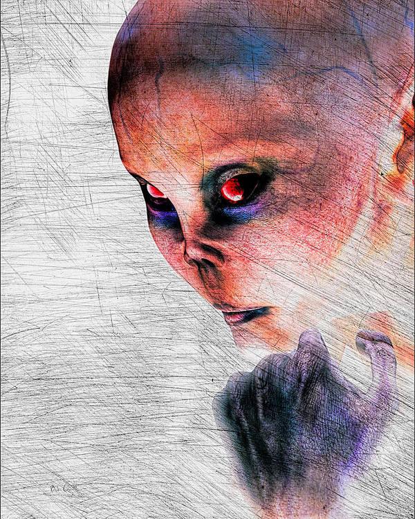 Alien Abduction Art Print featuring the digital art Female Alien Portrait by Bob Orsillo