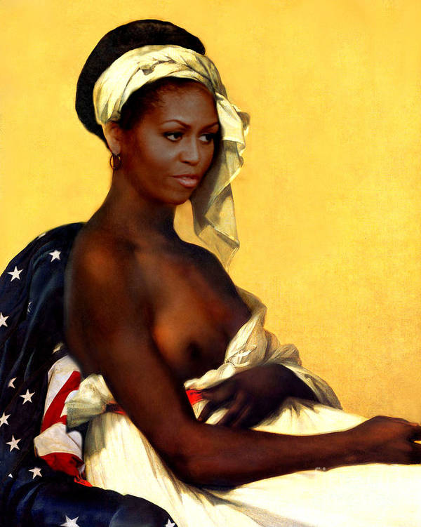 Michelle Obama Art Print featuring the painting First Lady by Karine Percheron-Daniels