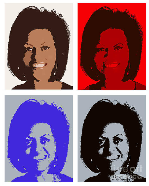 Michelle Obama Print featuring the photograph First Lady by Robert Suggs
