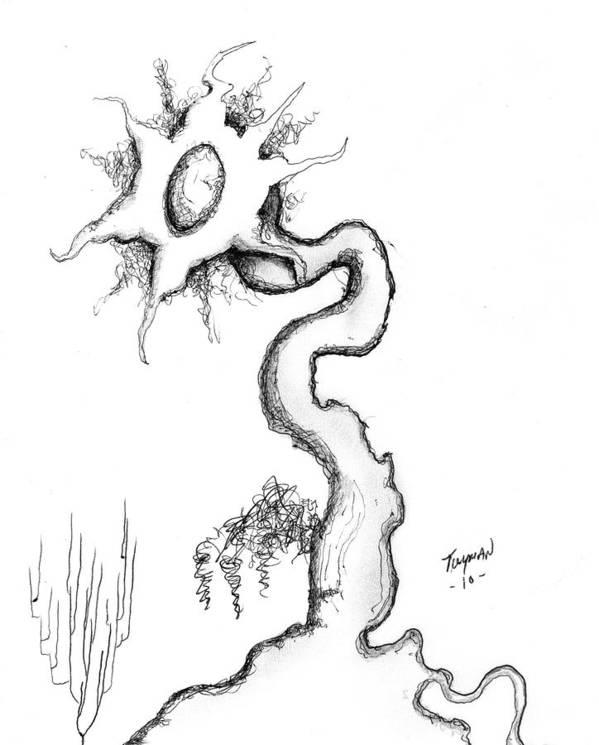 Flower Surrealiste Art Print featuring the drawing Flower Surrealiste 2 by Dan Twyman