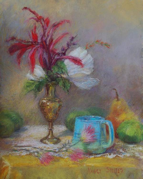 Paintings Print featuring the drawing Flowers by Nancy Stutes