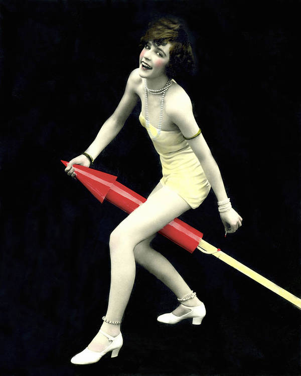 1035-457 Print featuring the photograph Fourth Of July Rocket Girl by Underwood Archives