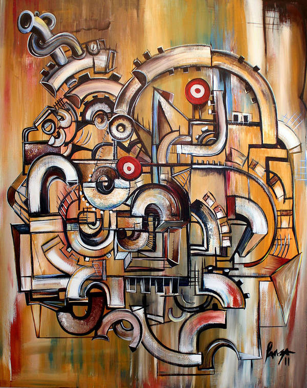 Modern Art. Ganesh. Technology Cubism Art Print featuring the painting Gears Of Ganesha by Jose Gonzalez Lanza