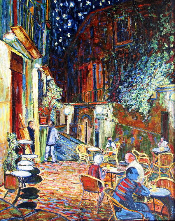 Impressionsist Spain Cafe Night Stars Van Gogh Art Print featuring the painting Gerona by Rob White