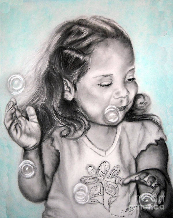 Charcoal Art Print featuring the painting Girl Blowing Bubbles by Jane Steelman