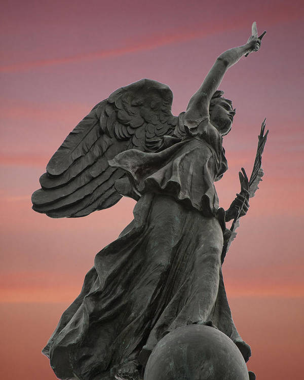 Wayne Letsch Gettysburg Winged Goddess Victory Peace Civil War Pennsylvania Bronze Monument Angel Angels Athena Nike Nic Samuel Murray Statue Pink Sky Art Print featuring the photograph Goddess Of Victory And Peace by Wayne Letsch