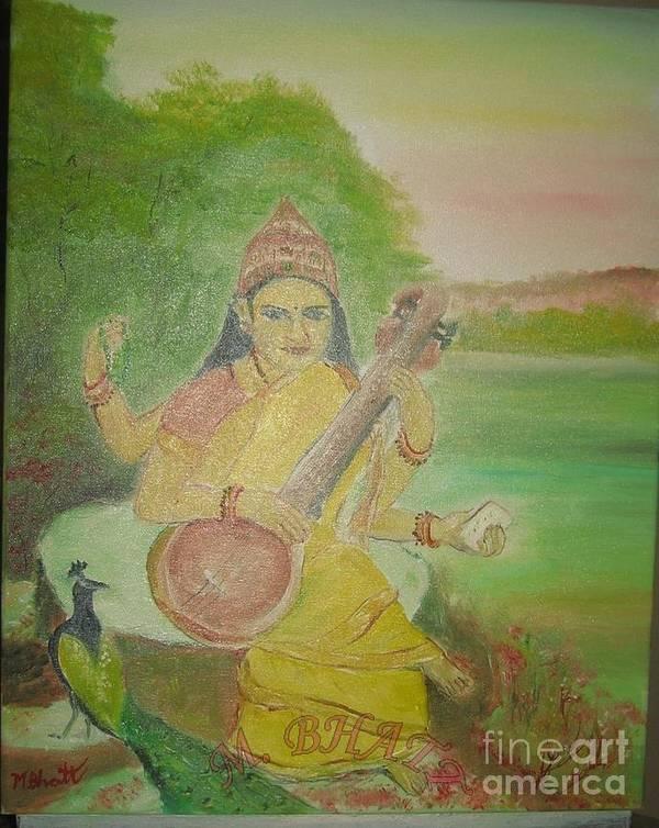 Hinduism Art Print featuring the painting Goddess Sarswati by M Bhatt