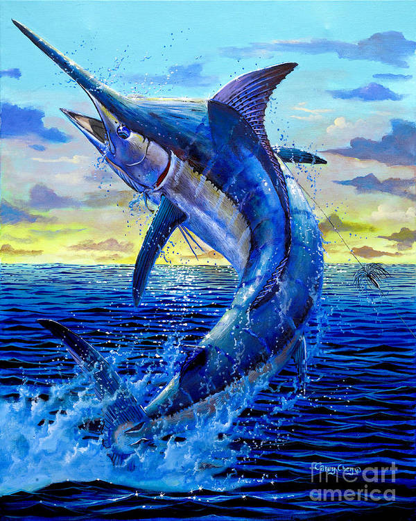 Marlin Art Print featuring the painting Grander Off007 by Carey Chen