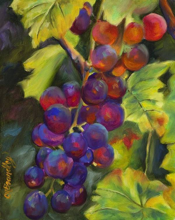 Grapes Art Print featuring the painting Grapevine by Chris Brandley