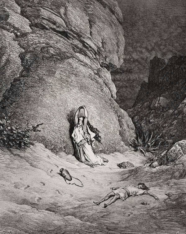 Egyptian Slave Art Print featuring the painting Hagar And Ishmael In The Desert by Gustave Dore