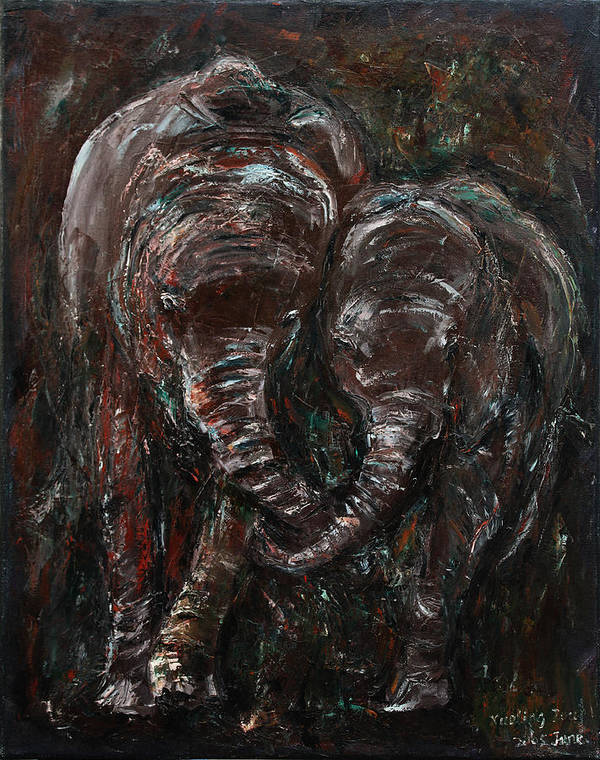 Elephants Art Print featuring the painting Hand In Hand by Xueling Zou