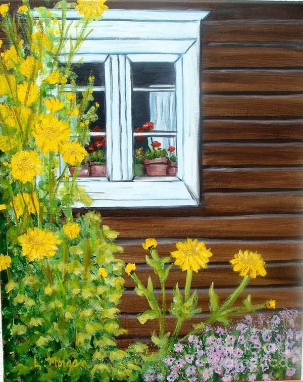Window Art Print featuring the painting Happy Homestead by Laurie Morgan