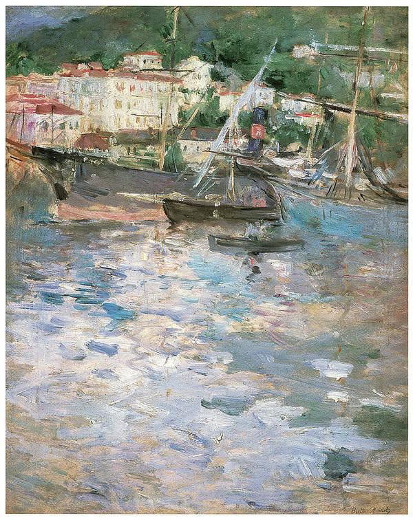 Berthe Morisot Art Print featuring the painting Harbor At Nice by Berthe Morisot