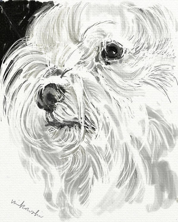 Maltese Art Print featuring the jewelry Harley The Maltese by Linda Minkowski