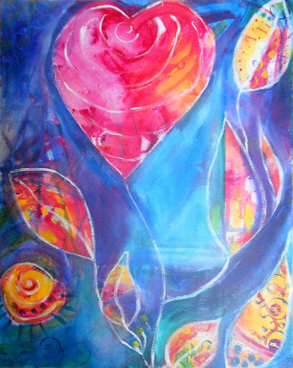 Rose Art Print featuring the painting Heart Rose by Lucy H Pearce