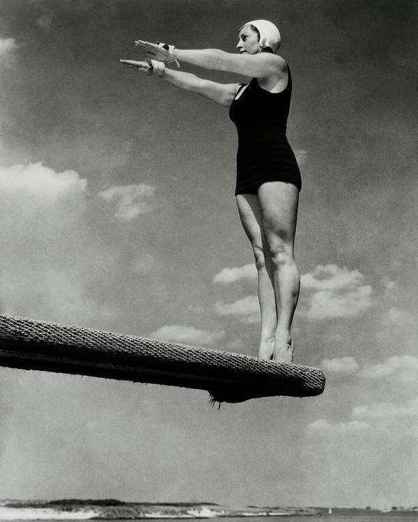Accessories Art Print featuring the photograph Helen Meany On A Diving Board by Edward Steichen