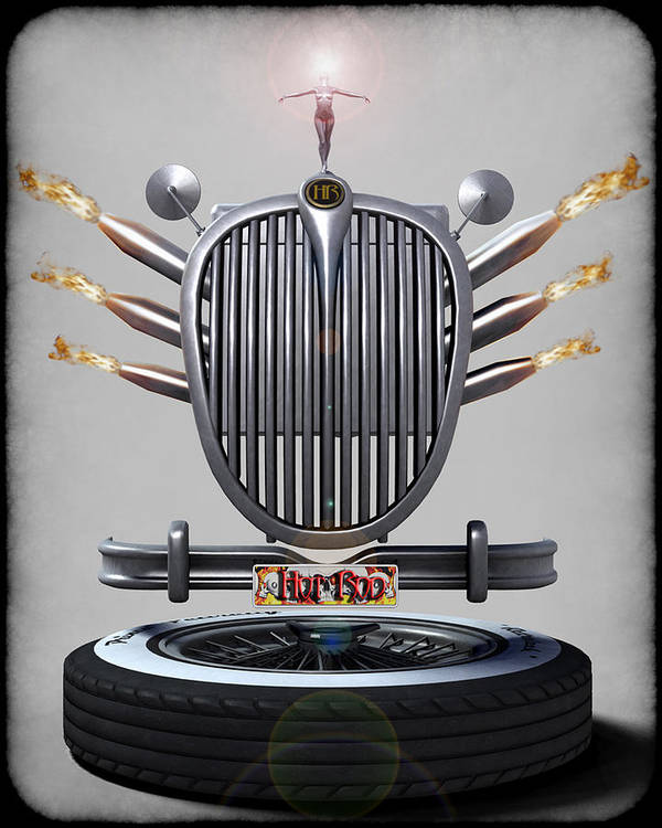 Car Art Print featuring the digital art Hot Rod Crest by Frederico Borges