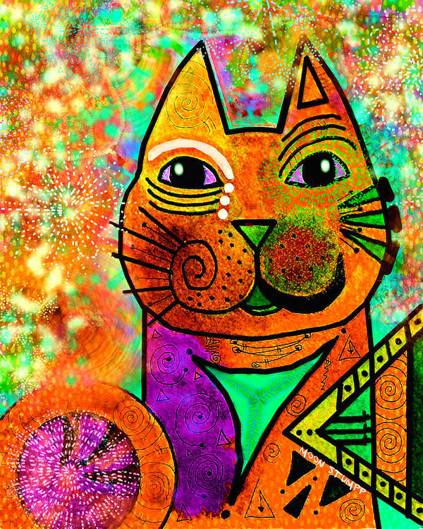 Moon Stumpp Art Print featuring the painting House Of Cats Series - Blinks by Moon Stumpp